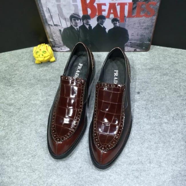 Giày lười Prada siêu cấp hoa tiết ô kẻ
