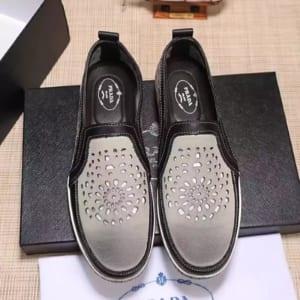 Giày lười Prada siêu cấp thoáng khí màu bạc
