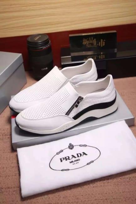 Giày lười Prada siêu cấp thoáng khí màu trắng
