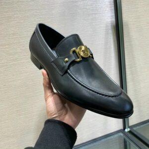 Giày lười Versace like au da trơn khoá logo tròn GLV07