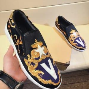 Giày lười Versace siêu cấp họa tiết vương miện GLV10