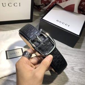 Thắt lưng Gucci nam siêu cấp đen mặt khóa kim