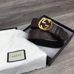 Thắt lưng Gucci nam siêu cấp nâu mặt khóa tròn gold