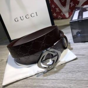 Thắt lưng Gucci nam siêu cấp nâu mặt vuông