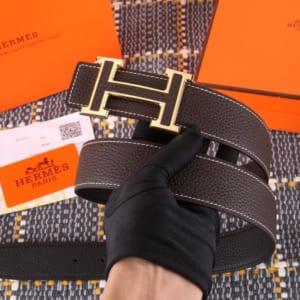 Thắt lưng Hermes nam nâu chữ H thanh hàng siêu cấp