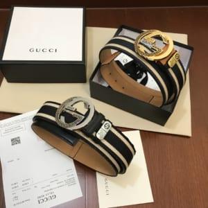 Thắt lưng nam Gucci siêu cấp dây đen trắng mặt khóa logo bạc