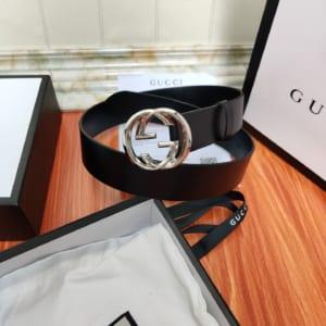 Thắt lưng nam Gucci siêu cấp đen trơn mặt khóa logo