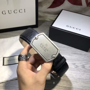 Thắt lưng nam Gucci mặt chữ nhật silver siêu cấp