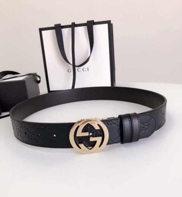 Thắt lưng nam Gucci siêu cấp mặt khóa xoay gold