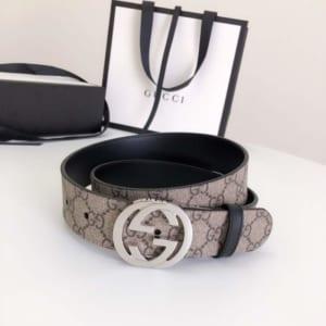 Thắt lưng nam Gucci siêu cấp mặt khóa xoay silver