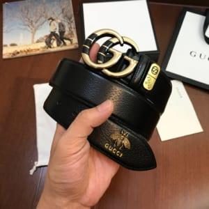 Thắt lưng nam Gucci siêu cấp ong mặt khóa logo vân đen