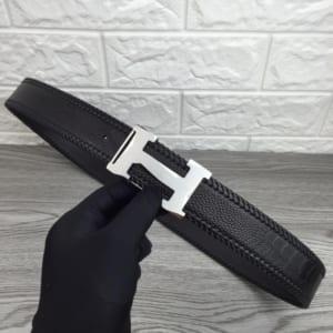 Thắt lưng nam Hermes đen mặt chữ H mới silver hàng siêu cấp