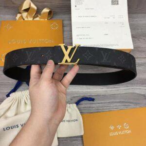 Thắt lưng nam Louis Vuitton siêu cấp hoạ tiết hoa đen logo bóng TLLV28