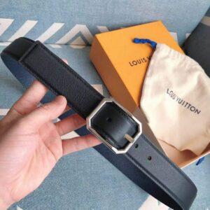 Thắt lưng nam Louis Vuitton siêu cấp mặt khóa bát giác màu trắng TLLV25
