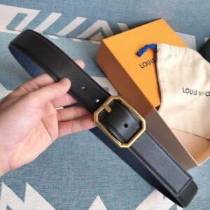 Thắt lưng nam Louis Vuitton siêu cấp mặt khóa bát giác màu vàng TLLV26