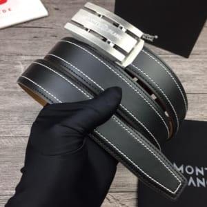 Thắt lưng nam Montblanc đen mặt khóa chữ nhật silver siêu cấp