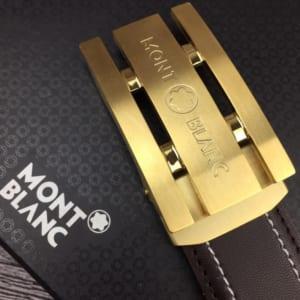 Thắt lưng nam Montblanc nâu mặt khóa chữ nhật gold siêu cấp