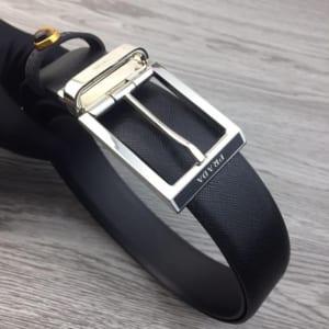 Thắt lưng nam Prada đen mặt khóa kim silver siêu cấp