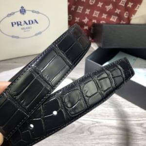 Thắt lưng nam Prada đen mặt khóa kim siêu cấp