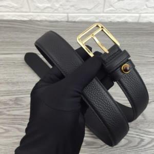 Thắt lưng nam Prada đen mặt khóa kim hàng siêu cấp