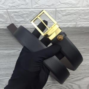 Thắt lưng nam Prada nâu mặt khóa kim gold siêu cấp