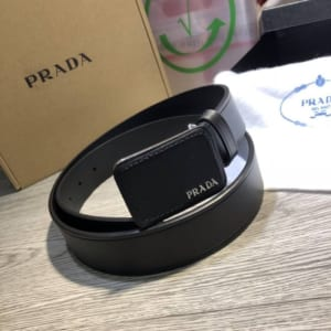 Thắt lưng Prada nam đen mặt chữ nhật hàng siêu cấp