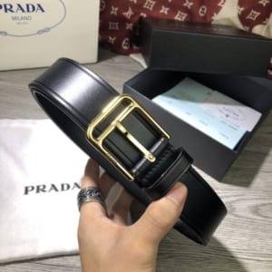 Thắt lưng Prada nam đen mặt khóa kim siêu cấp
