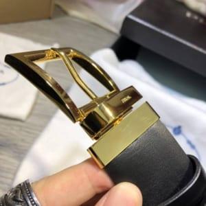 Thắt lưng Prada nam mặt khóa kim gold siêu cấp