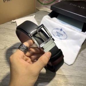 Thắt lưng Prada nam mặt khóa kim silver siêu cấp