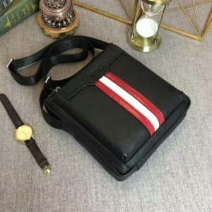 Túi đeo chéo Bally siêu cấp đen kẻ đỏ trắng