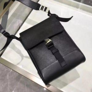 Túi đeo chéo nam Prada siêu cấp đen da trơn
