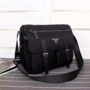 Túi đeo chéo Prada siêu cấp đen hai khóa kim