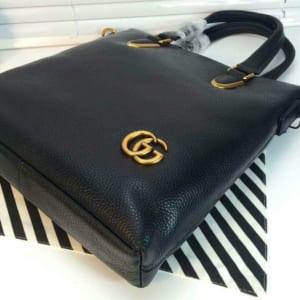 Túi xách Gucci nam mini đen logo G nổi hàng siêu cấp