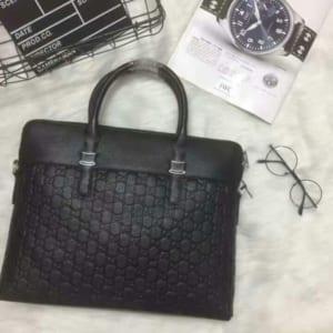 Túi xách nam Gucci siêu cấp đen da sần hoạ tiết logo G