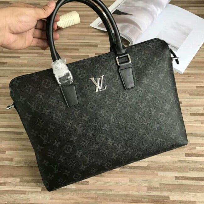 Túi xách nam Louis Vuitton siêu cấp đen họa tiết hoa bông