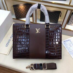 Túi xách nam Louis Vuitton siêu cấp hoạ tiết vân da cá sấu màu nâu TXLV04