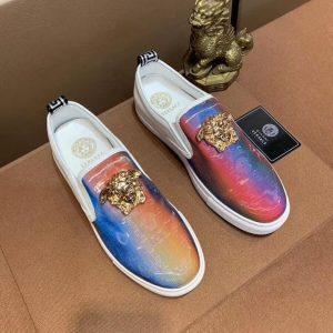 Giày lười nam Versace siêu cấp xanh hồng