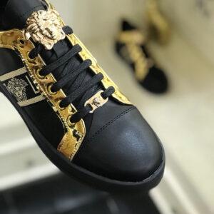 Giày nam Versace siêu cấp hoạ tiết logo vàng đen GLV14