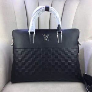 Cặp da nam Louis Vuitton siêu cấp đen họa tiết caro