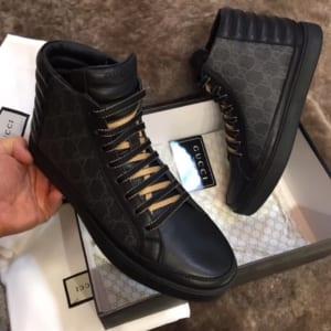 Giày nam Gucci cao cổ họa tiết dây vàng GNG22