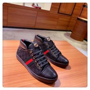 Giày nam Gucci siêu cấp họa tiết logo vàng GNG08