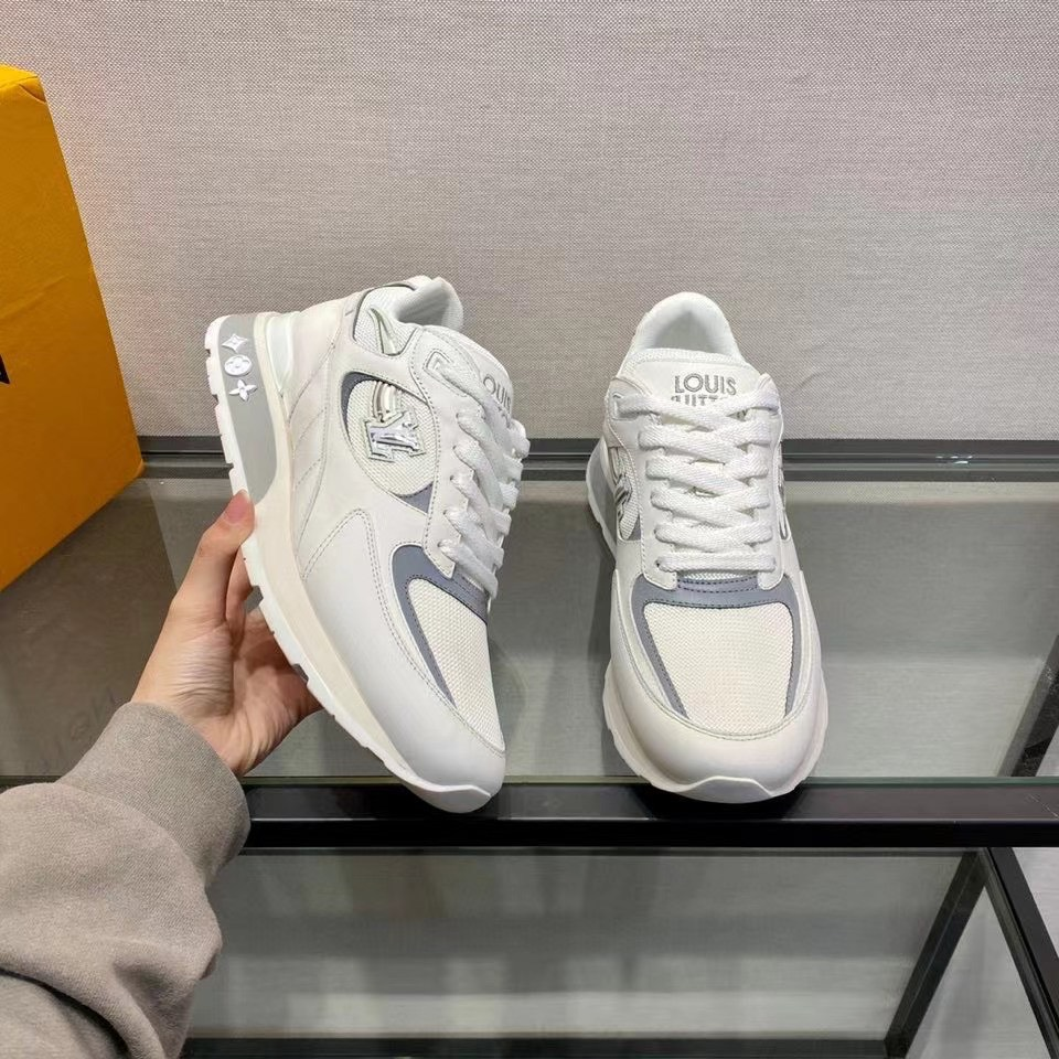 Giày nam Louis Vuitton siêu cấp hoạ tiết logo viền xám GNLV09