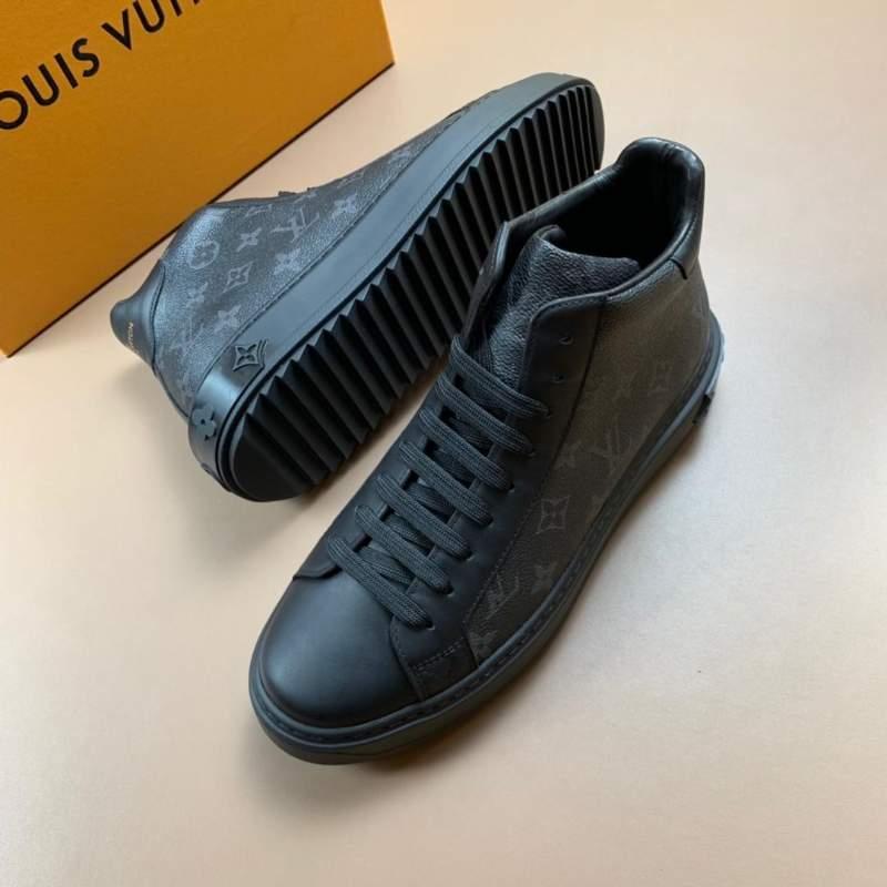 Giày nam Louis Vuitton siêu cấp cổ cao đen hoa tiết hoa
