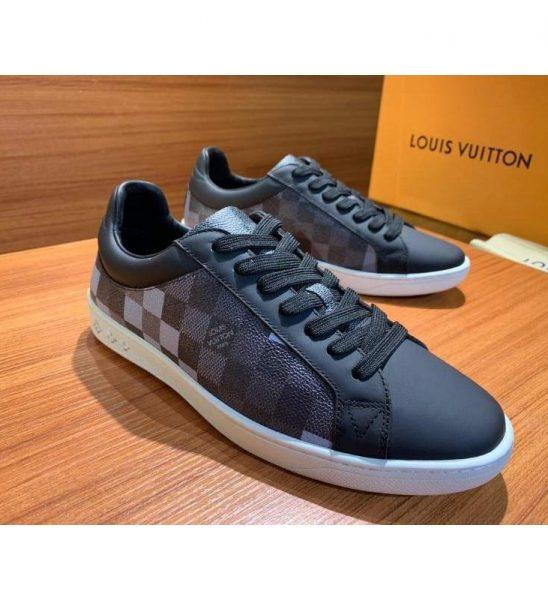 Giày nam Louis Vuitton siêu cấp đen họa tiết kẻ ô