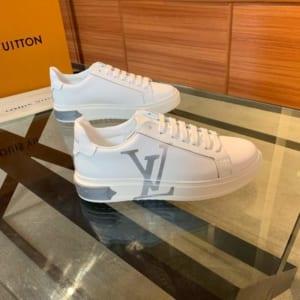 Giày nam Louis Vuitton siêu cấp trắng họa tiết logo bạc