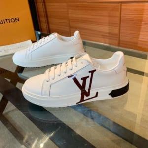 Giày nam Louis Vuitton siêu cấp trắng họa tiết logo nâu