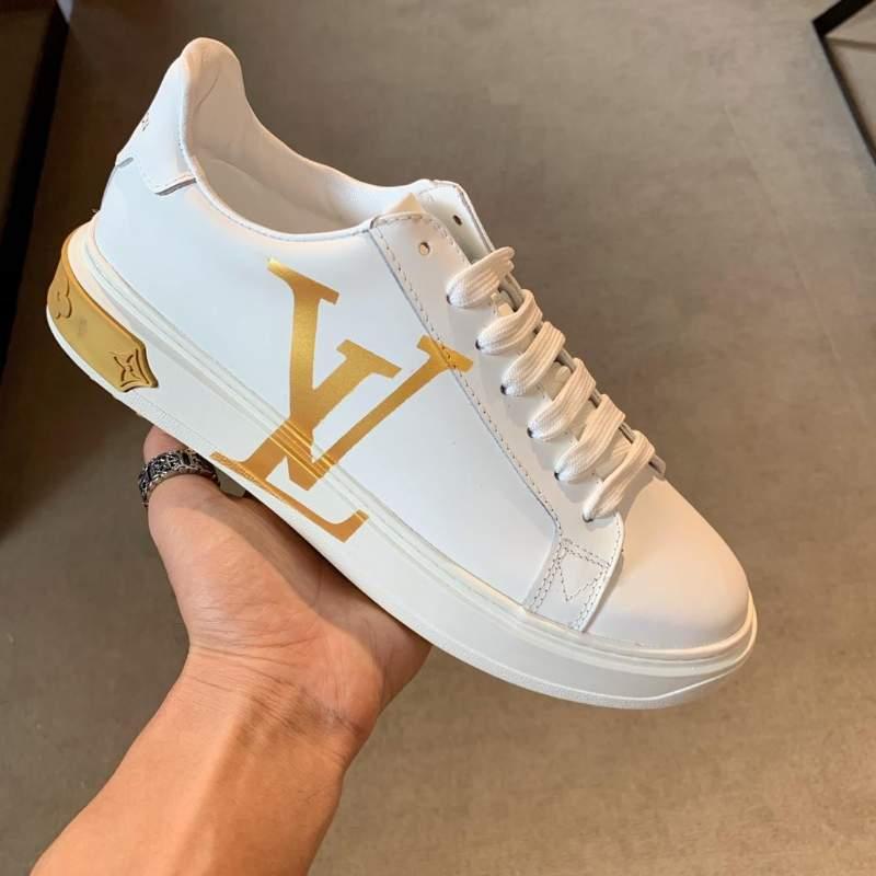 Giày nam Louis Vuitton siêu cấp trắng họa tiết logo vàng
