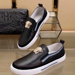 Giày nam Versace siêu cấp đen họa tiết logo