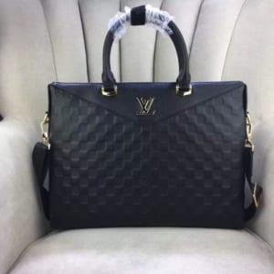Túi da nam Louis Vuitton siêu cấp đen họa tiết caro