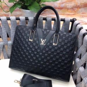 Túi xách nam Louis Vuitton siêu cấp da sần họa tiết caro